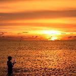 Enjoy fishing at sunset