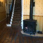 Wood burning stove in entrance hall