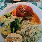 Wonderful dinner of stuffed tomatoes, rice and veggies