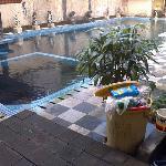 garbage can near pool