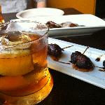 Iberian Old Fashioned; Bacon-wrapped dates; and Braised Veal-shank Ravioli