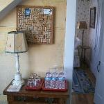 Bottled water provided, note door into smaller room