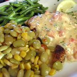 Pan-Seared Grouper with She Crab Saute, succotash and green beans