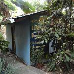 The backside/doorway into cabin #8