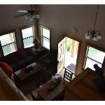 Living room area, looking down from the upstairs loft