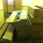 Large boxes obstructed the stairwell