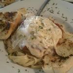 Chicken Parmigiano with garlic bread