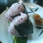 Onigiri rice for breakfast.