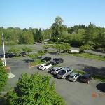 Hotel view, parking lot