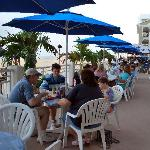 Families dining on the deck