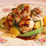 Grilled Scallops with Endive, Orange and Avacado