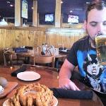 my fosters beer and bloomin' onion