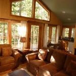 Muir Cabin - Living room with windows out to the forest