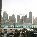 View from Scoozi Dubai mall on the fountains