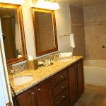 Bathroom vanity in one bedroom