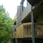Looking up at deck from back of unit