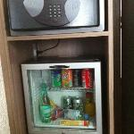 Mini bar and the safe.