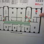Hotel floor layout (bottom faces street).  Room 47 is quiet, the stairs there are emergency only