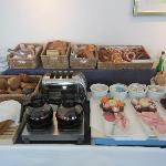 Nice selection of good quality breads, pastries, hams, pate and cheese