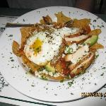 Chilichilles  - sliced Grilled Boneless Chicken & Crispy Tortillas with eggs.