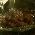 Brandy soaked chocolate covered cherries! Yum!