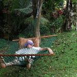 does this look like a guy on holiday or what!? Two hammocks in the huge garden.