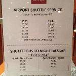 Shuttle bus schedule, May2012