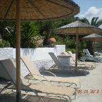 Sunbathing area below Hotel