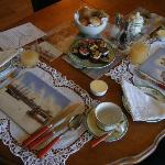 Table setting before our amazing cooked breakfast