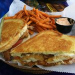 Captain's Chicken Sandwich with sweet potato fries
