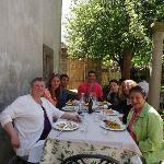 Tuscan group enjoying fine food