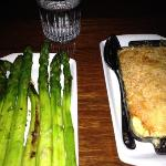 overcooked asparagus and mac-n-cheese