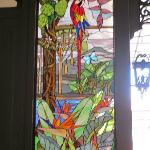 Gorgeous stained glass in courtyard area!