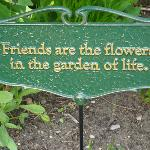 Sign in one of the flower beds