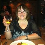 Me with my fish main and delicious wine at L'abattoir