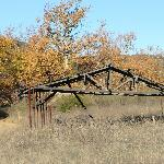 Frame of a barn still standing in Sycamore Canyon