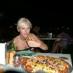 Mexican Pizza and beer