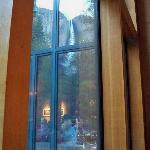 Yosemite Falls reflection in Restaurant windows