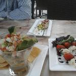 ceviche, chicken & caprese skewers