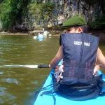 There is a channel between limestone cliffs into which you can Kayak
