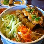 #78 BUN Rice Vermicelli with grilled shrimp,pork,and egg roll.