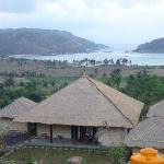 The view of the bungalows perched on the hill overlooking the bay