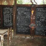 The menu on a large blackboard