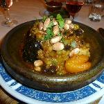 Lamb tagine with prunes, dried apricots and currants