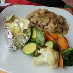 Steak with a creamy mushroom and pepper sauce