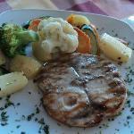 Grilled swordfish steak with fresh veg