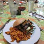The grilled vegetable sandwich with sweet potato chips