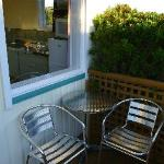 Small patio area of outside our cabin