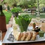 Vegetarian lunch platter in the garden at Oranje Tractor