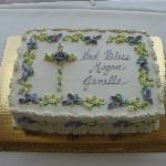 Our daughter's Baptism cake - 3 layer yellow cake w/ chocolate cream filling